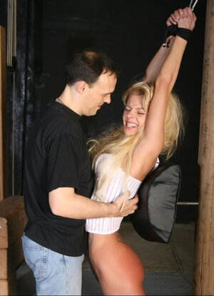 Master shows blonde submissive what pain means and also gives ramrod for sucking