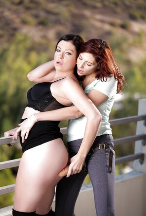Small-tittied lezzy with red hair puts on strapon to make surprise for exgf