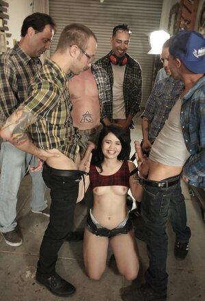 There are seven aroused guys but cheerful brunette floozy will give bj all love poles