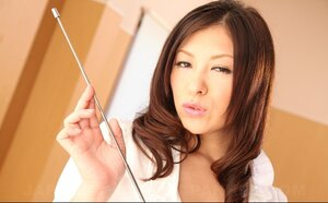 Pretty Japanese teacher unbuttons white blouse to entice handsome student