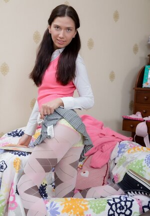 Brunette college girl with pigtails has no boyfriend but toy helps receive pleasure