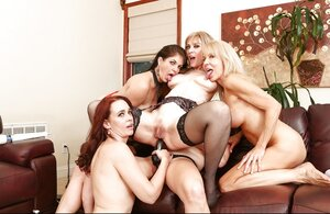 Five hoes for any taste with sex toys in lez orgy section on the couch