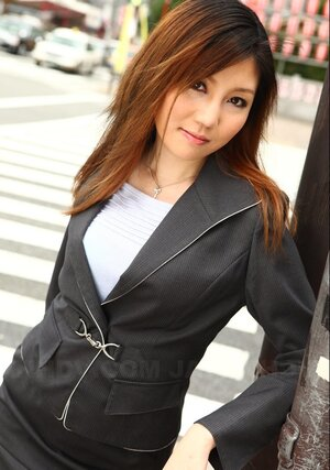Oriental female Yuria Kanno with red hair got excited and moreover went out in sexy clothes