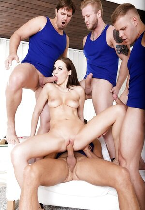 Four fellas and hot team fuck it's the stuff sexy brunette needs asap