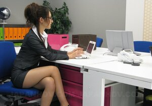 Short skirt of nerdy Japanese secretary can hardly hide her lingerie
