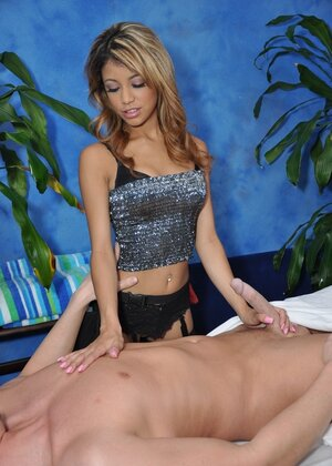 Exotic gal in stockings from parlor has slit destroyed by client on massage table